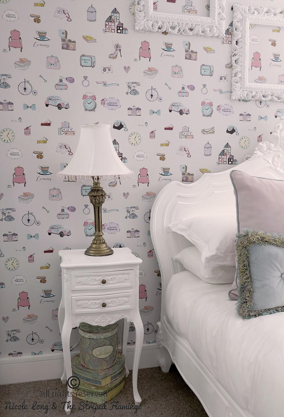 Paris Wallpaper Bedroom Striped Flamingo Custom Wallpaper