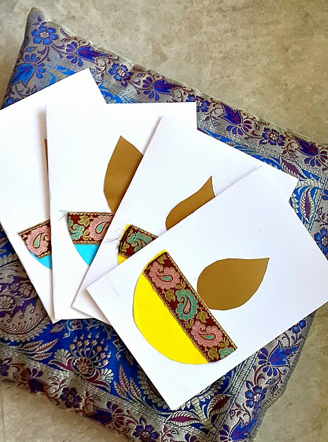 A creative project how to make diwali cards with your kid for Craft supplies for card making