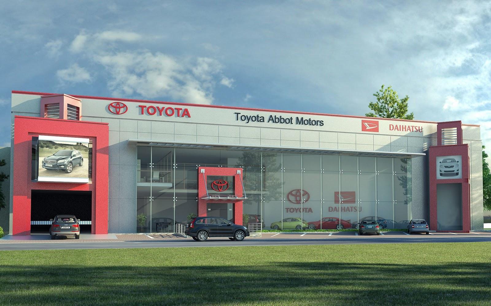 3D Front Elevation.com: Toyota Motors Show room Front elevationHouse ...