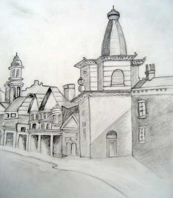 Sketch of a Castle, Urban Landscape, Building