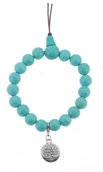 Turquoise wrist mala with charm