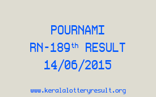POURNAMI RN 189 Lottery Result 14-6-2015