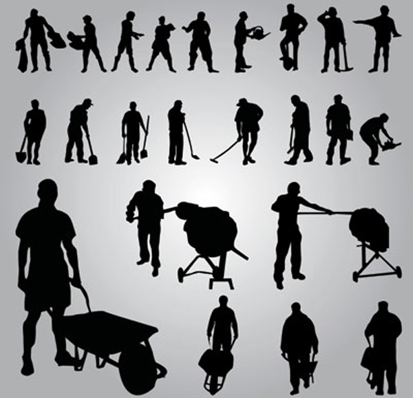 Worker silhouettes vector ai eps