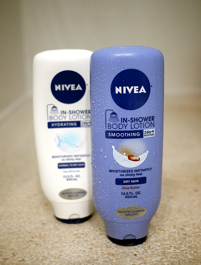 the last thing i tried is nivea inshower body lotion which like the name suggests is lotion you can put on in the shower at the end of your shower
