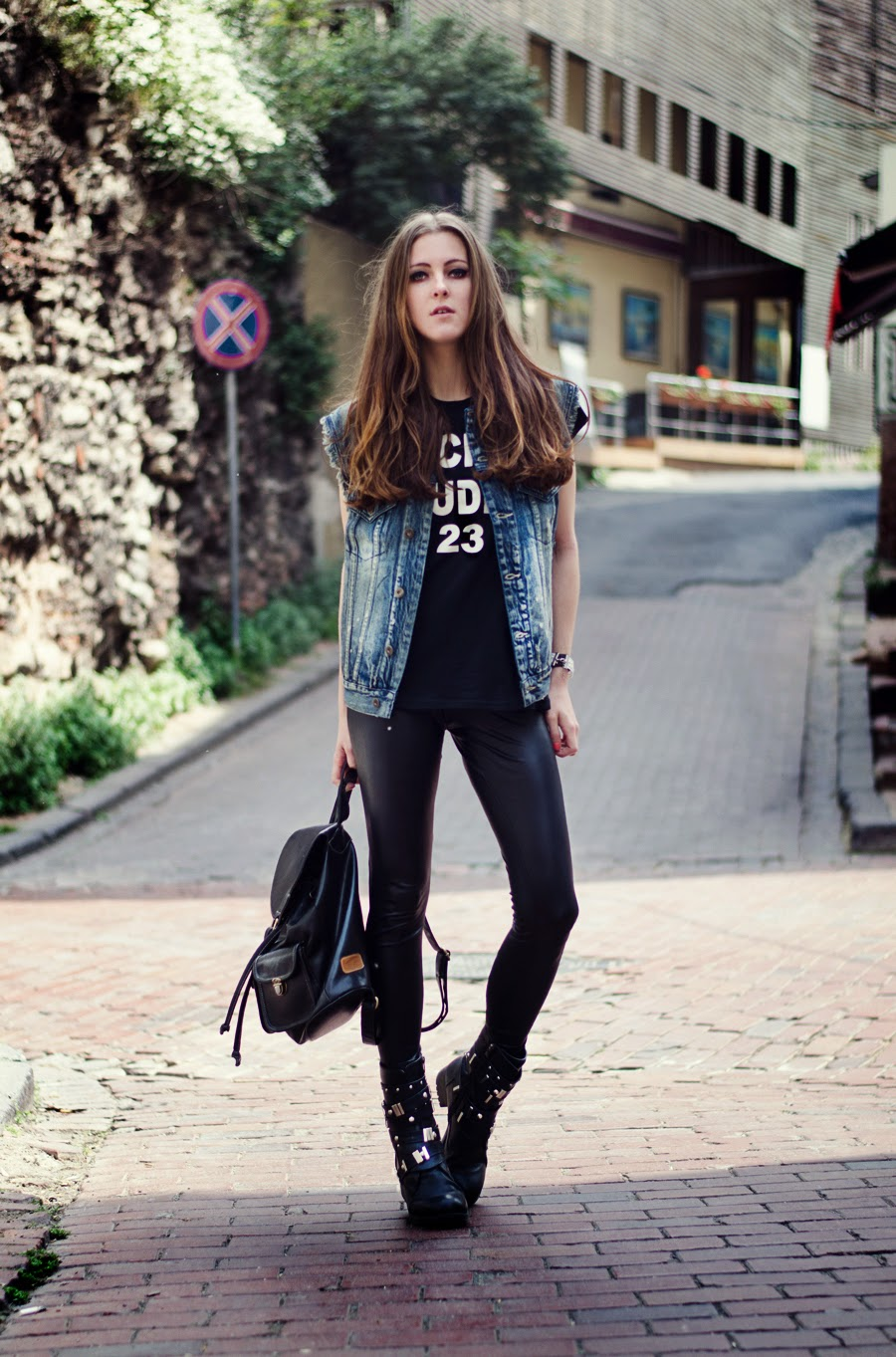 gypsy warrior, istanbul street style, rocker girl outfit , denim vest outfit, summer long hair , acne tee outfit, russian fashion blogger 2014