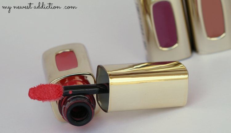 L'Oreal lipstick lipgloss color riche extraordinaire liquid swatch review Coral Encore