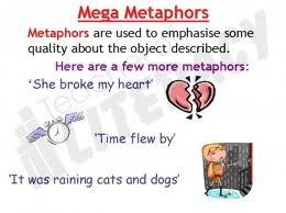 An image explaining what a metaphor is and lists an example of a few