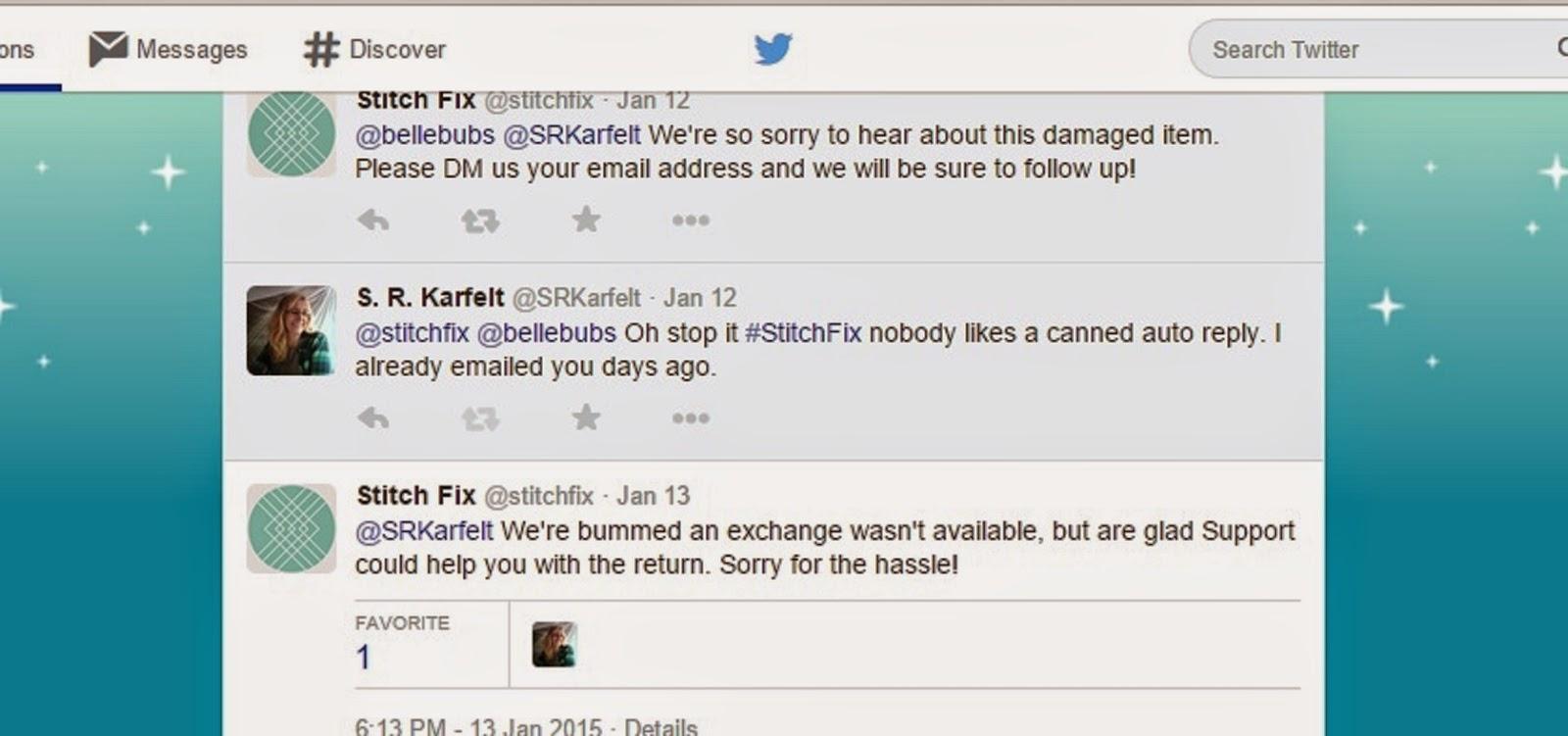 Stitch Fix, Customer Service, S. R. Karfelt