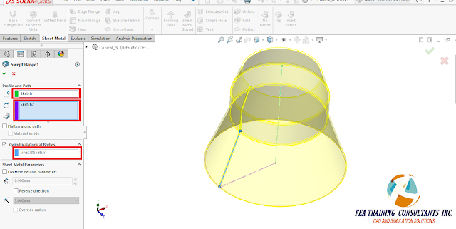 sheetmetal flange in solidworks