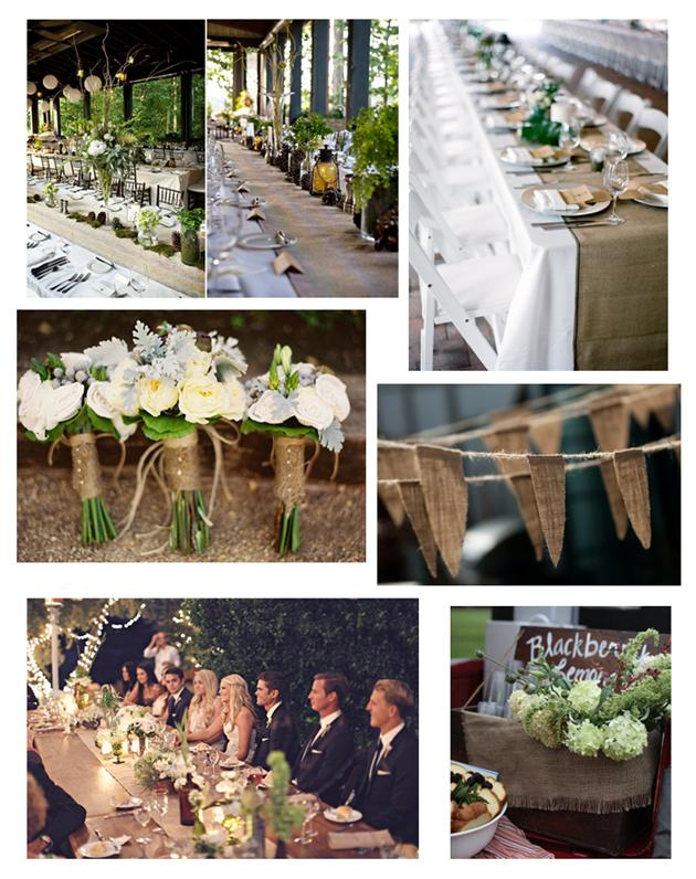 Burlap For table runners around the flowers and as bunting and d cor