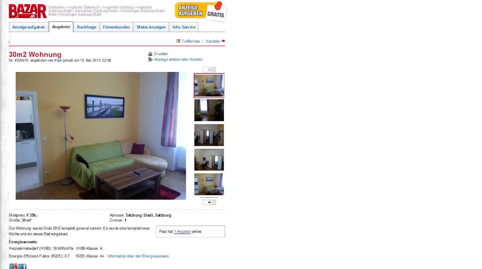30m2 wohnung salzburg rupertgasse 13 5020 salzburg. Black Bedroom Furniture Sets. Home Design Ideas