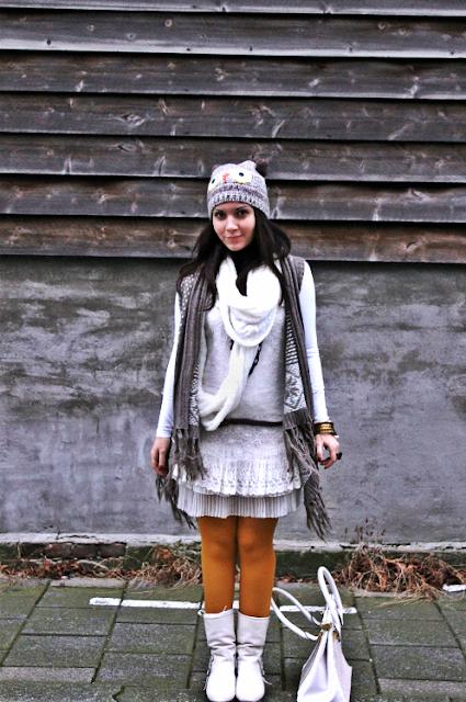 Owl, fall, winter, dress, white, river island, vero moda, H&M, Fashion, winter, owl, autumn, grey, dress, white, river island, accessorize, primark