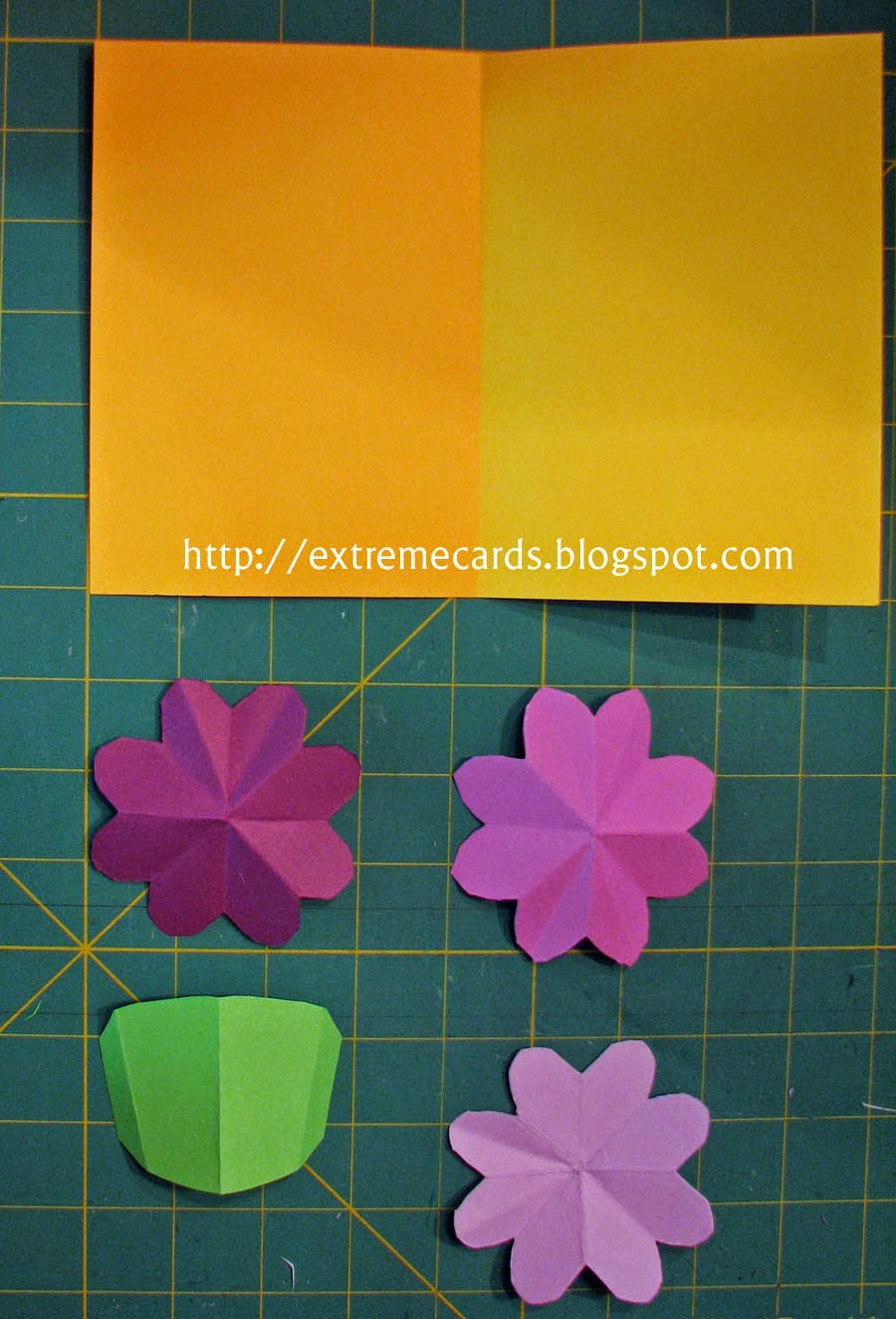 3 flower pop up card cut out parts