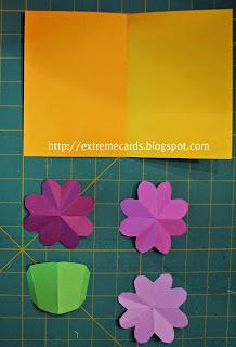 3 flower pop up card cut out parts