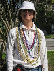 Gretta with Mardi Gras beads