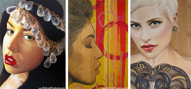 beauty art, portrait artist, mixed media artist, malinda prudhomme, artist one year anniversary, full time artist