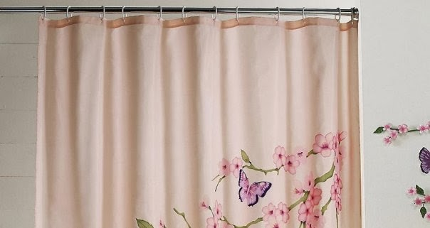 Cherry Blossom Fabric Shower Curtain With Elegant Finishing Touch