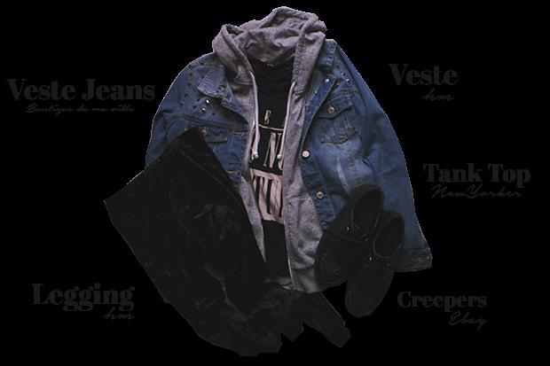ootd, outfits, clothes, clothing, vintage, grunge, alternative, punk, tartan shirt, parka, jennyfer, boots, asos, pullandbear, romper, denim jacket, studded, velvet legging, HM, Creepers, fashion, mode, streetwear,