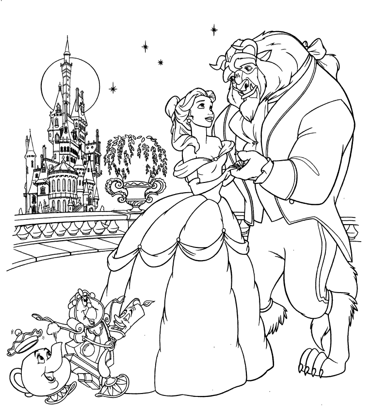 Fun learn free worksheets for kid disney princess for Beauty and the beast coloring pages disney
