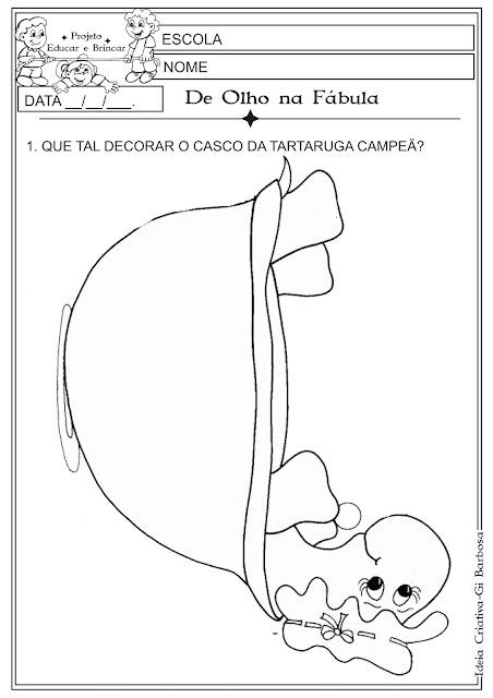 Atividade Fábula Dia do Livro Infantil  Colagem