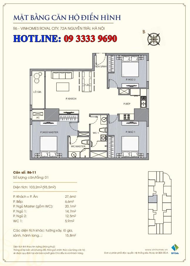 Mặt bằng căn hộ số 11 thông tầng R6 Royal City