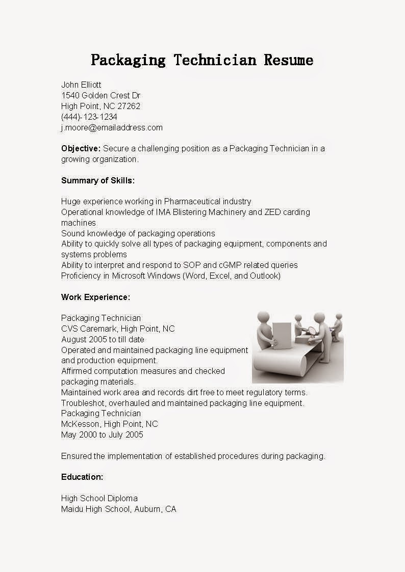 packaging technician resume sample resume samples