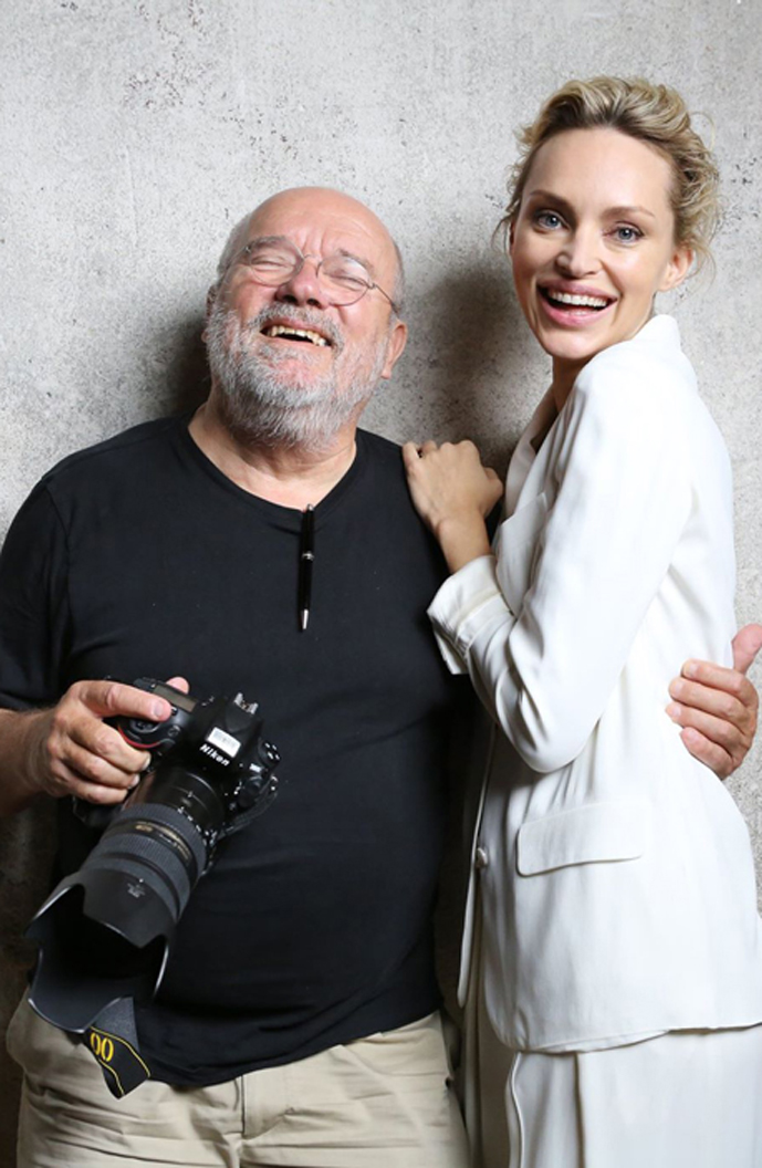 Inna Zobova and Peter Lindbergh behind the scene working on a campaign for The Heart Fund