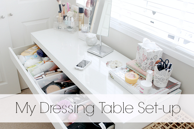 Dressing table set up, IKEA Malm dressing table, White dressing table,
