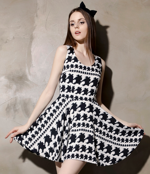 Houndstooth Cut Out Back Dress