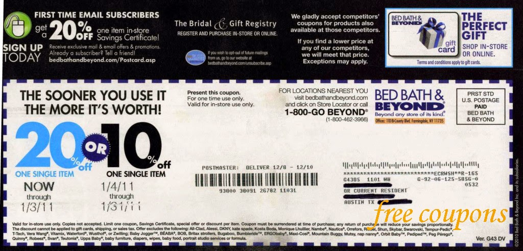 Bed bath beyond discount coupons printable