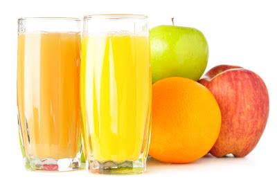 sucos, copos, maçã, frutas