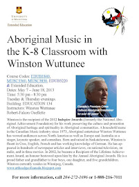 Deadline April 15 University Music Course, Aboriginal Music in the K-8 Classroom