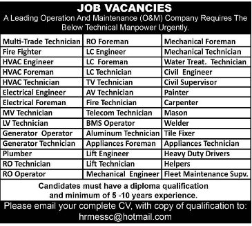 JOB VACANCIES AS GIVEN BELOW VISA NOT THERE 22.02.2017 JOB IN KSA