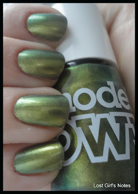 models own beetlejuice golden green nail polish swatches