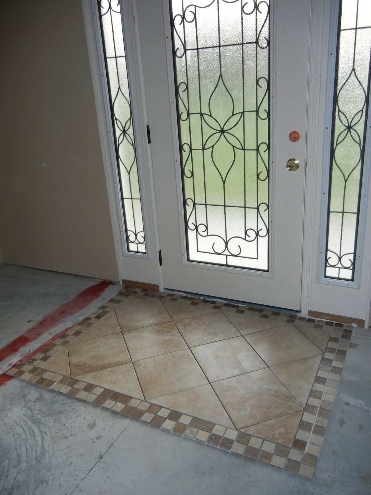 Front Foyer Tile Pictures : Double oak plantation front door foyer tiled quot rug area
