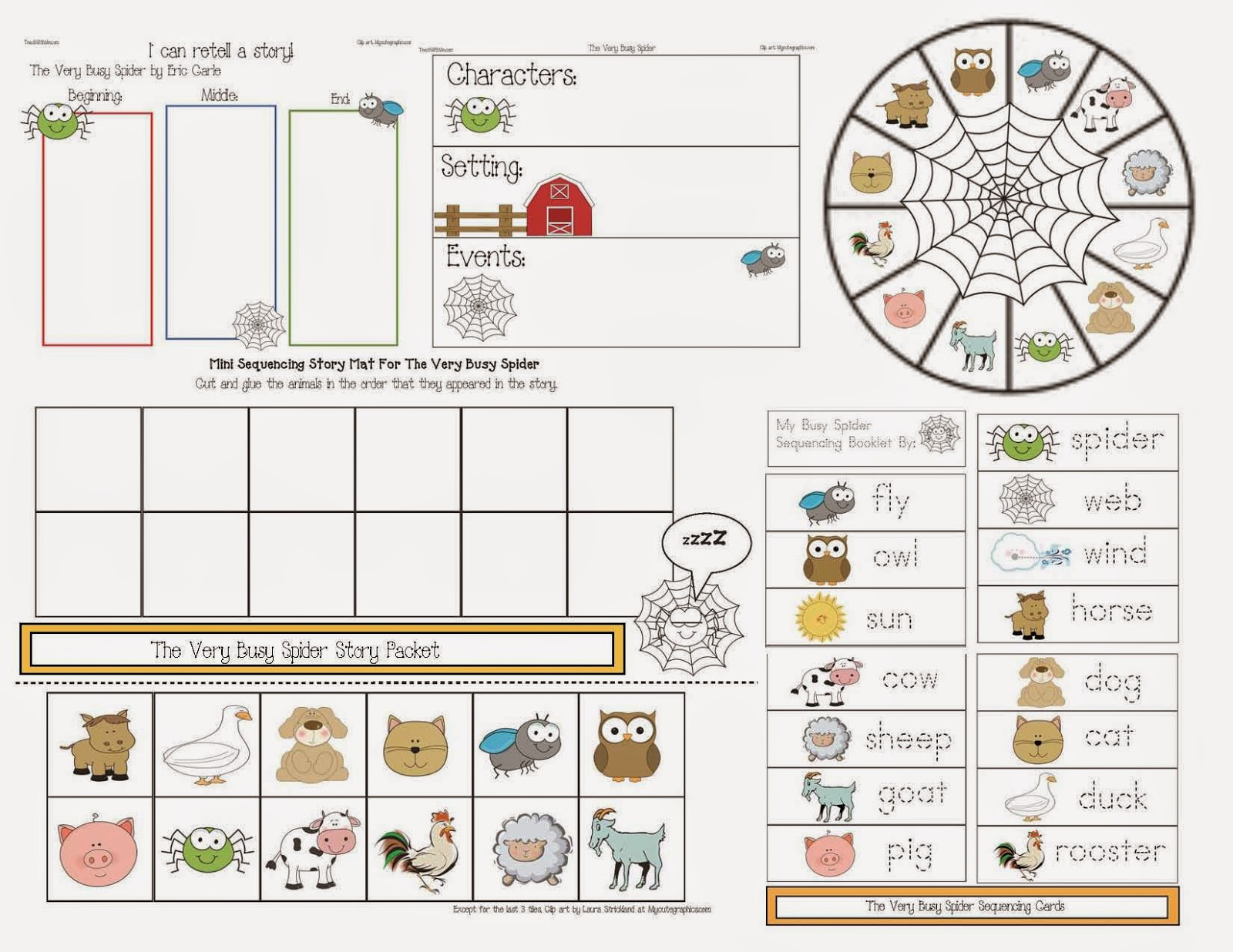 the very busy spider story packet classroom freebies bloglovin
