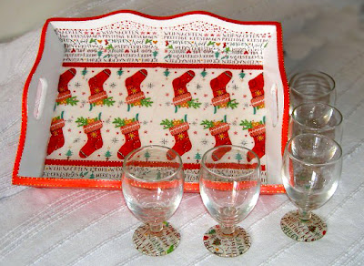 bandeja de navidad, copas de navidad, reciclado