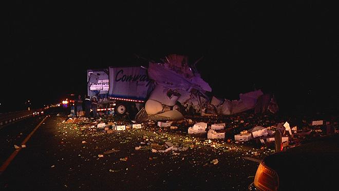 kern county i-5 grapevine big rig crash pileup freeway