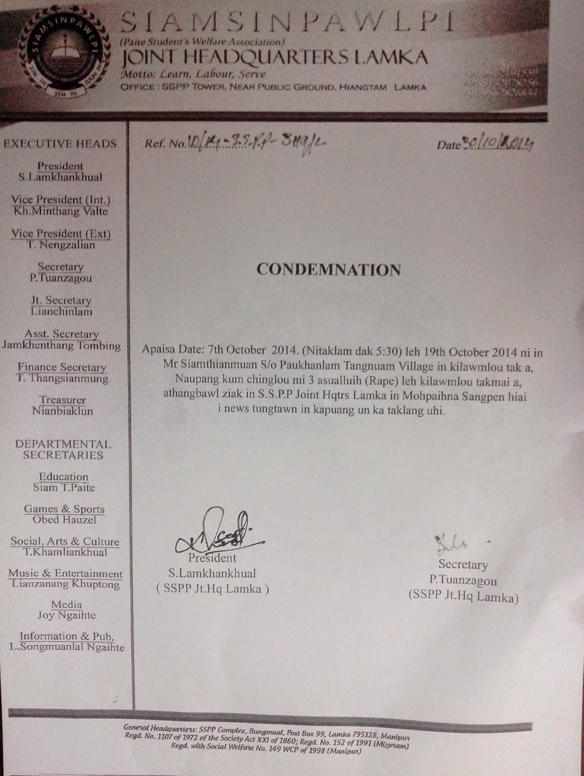 Condemnation | SSPP Jt. Hqtrs Lamka