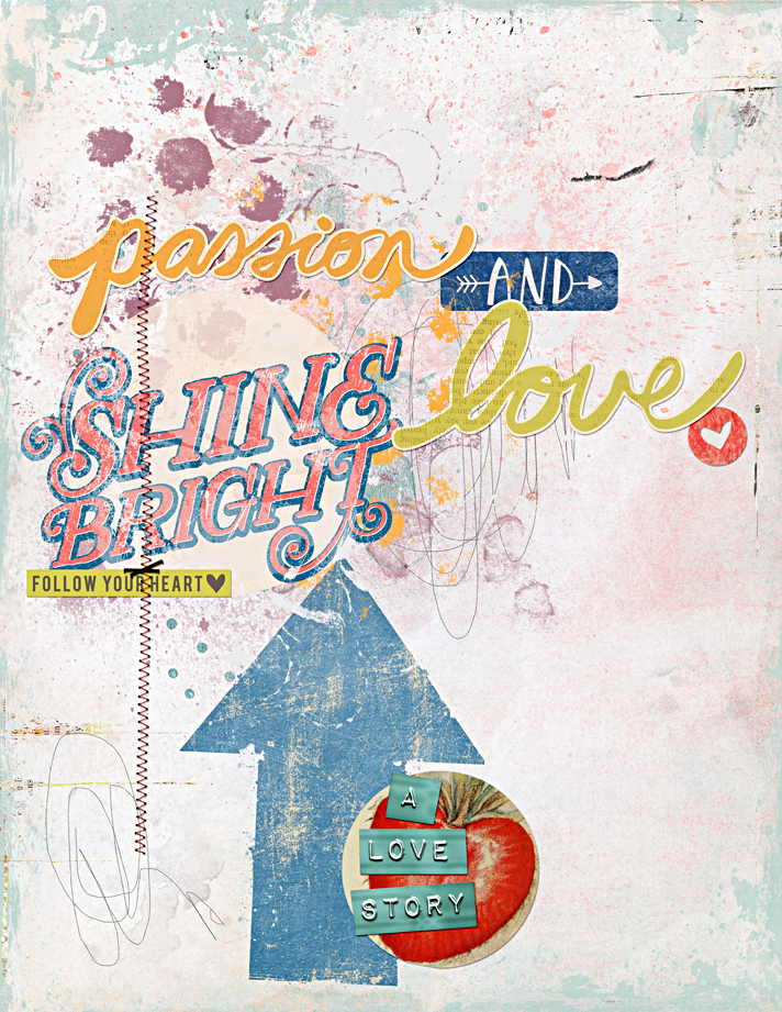 digital mixed media art journal page using the February 2015 Mixed Media Monthly Main Kit by The Lilypad