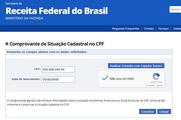 CONSULTAR REGULARIZAÇÃO DE CPF
