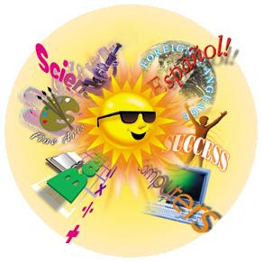 Summer Camp! Fun Things Offered At College For Kids.  Click On The Sun To Take You To Our Website
