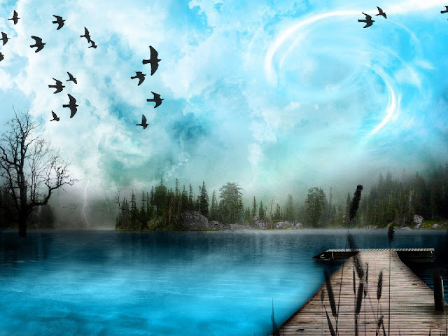 Wood Bridge on Lake, Birds, Nature Wallpaper