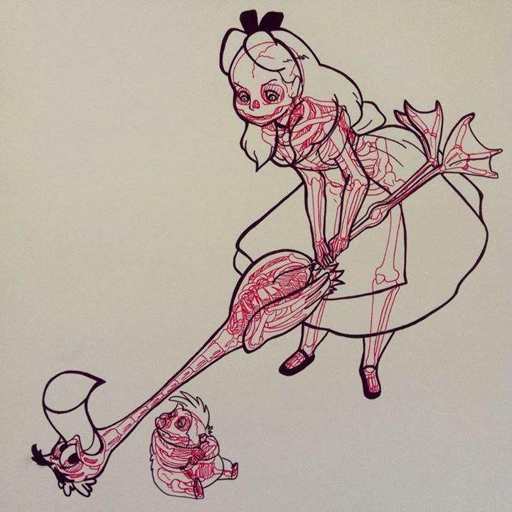 02-Alice-in-Wonderland-Chris-Panda-X-ray-Comics-Cartoons-Pin-up-Illustrator-www-designstack-co