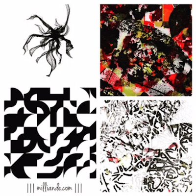 III milliande de III Earthed Trend Moodboard Textile Design and Surface Pattern Skeleton Leaves with Geometric Patterns