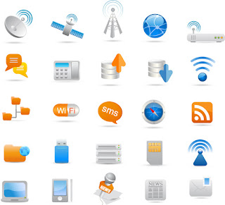 ワイヤレス コミュニケーション ツールのアイコン Wireless and Communication Icon イラスト素材