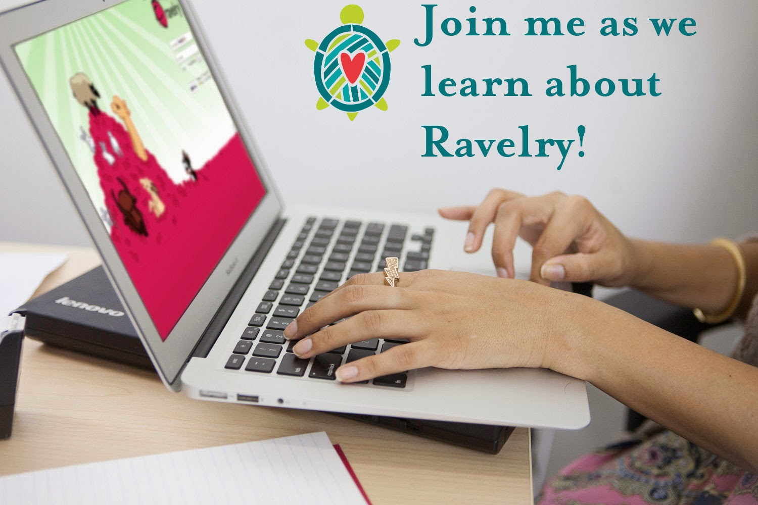 woman's hands typing at computer screen looking at the Ravelry website sign-in page