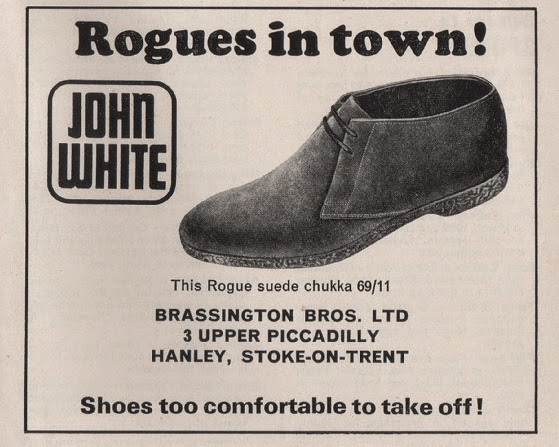 Vintage advertisement for Rogue suede shoes, from Stoke City football programme, c.1969