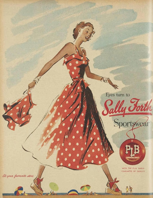Vintage 1950s ad with red and white polkadot dress