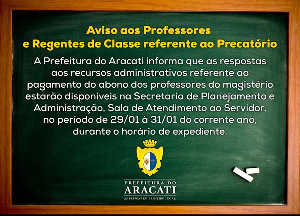 Aviso aos Professores de Aracati